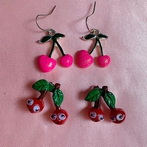 2 Pairs Claire's Dangly Cherry Glitter Earrings